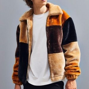 Urban Outfitters Patchwork Faux Fur Jacket